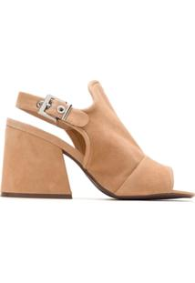 Schutz Ankle Boot Suede Salto Bloco - Neutro