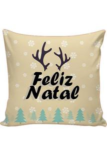 Capa Para Almofada Feliz Natal- Bege Claro & Verde ÁGua