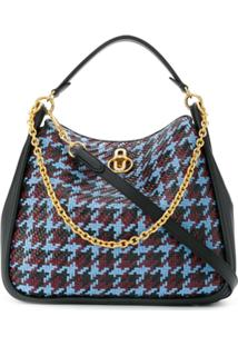 Mulberry Leighton Woven Houndstooth Shoulder Bag - Preto