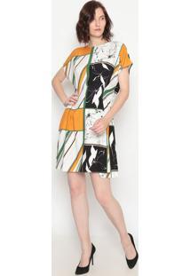 Vestido Com Pregas- Off White & Amarelo- Forumforum