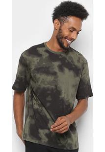 Camiseta T-Shirt Lacoste Live Exército Masculina - Masculino-Verde Militar+Preto