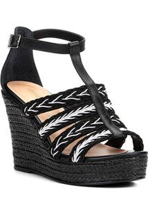 Sandália Plataforma Couro Shoestock Tranças Feminina - Feminino-Preto+Branco