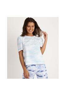 Blusa Feminina Estampada Tie Dye Manga Bufante Azul Claro