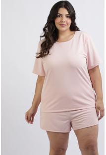 Pijama Feminino Plus Size Blusa Manga Curta Decote Redondo Rosa Claro
