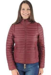 Jaqueta Feminina 2 Em 1 (Jaqueta E Colete) De Pluma Ultralight Alpine - Feminino-Vinho