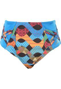Calcinha Banho De Mar Hot Pant Estampada Azul
