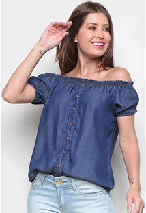Blusa Ombro A Ombro Cambos Jeans Botões Feminina - Feminino-Azul