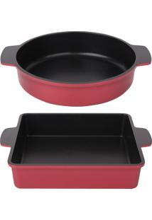 Conjunto De Assadeiras Alumínio Antiaderente Vermelha Quadrada E Redonda Le Cook