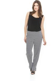 Calça Leopoldina Pijama Preta/Branca