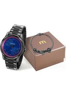 Relógio Mondaine Feminino + Pulseira - Feminino-Preto