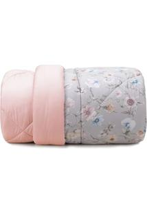 Edredom Queen Size Floral- Cinza & Rosa- 240X260Cm