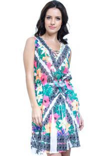 57098c8190ef Ir para a loja; Vestido Evasê Curto 101 Resort Wear Estampado Floral Verde