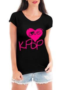 Blusa Criativa Urbana Love Kpop Blusa Coração Tshirt - Feminino-Preto