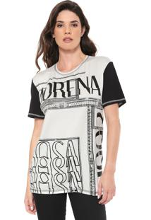 Camiseta Morena Rosa Estampada Off-White/Preta