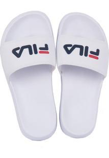 Chinelo Fila Slide Drifter Branco/Marinho/Vermelho 35