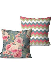 Kit Com 2 Capas Para Almofadas Decorativas Estilo Floral 45X45Cm