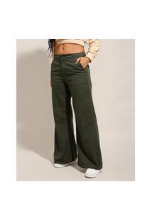 Calça Wide Pantalona De Sarja Cintura Baixa Verde Militar
