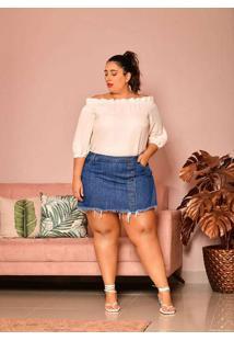 Short Saia Almaria Plus Size Izzat Jeans Azul