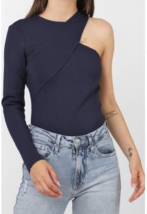 Blusa Colcci Assimétrica Azul-Marinho - Kanui