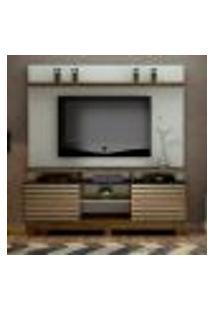 Estante Para Home Theater E Tv Até 60 Polegadas Texas Off White E Ipê