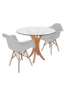 Conjunto Mesa De Jantar Tampo De Vidro 90Cm Com 2 Cadeiras Eiffel Com Braço - Cinza