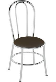 Cadeira Corino Cacau/Cromado Pozza