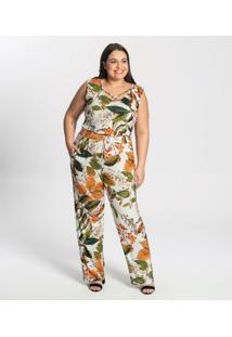 Macacão Plus Size Estampado Feminino Secret Glam Bege