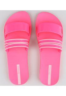 Chinelo Slide Feminino Ipanema Com Tiras Rosa Neon