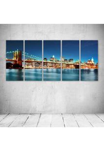 Quadro Decorativo - Usa River Bridge Skyscraper New York - Composto De 5 Quadros - Multicolorido - Dafiti