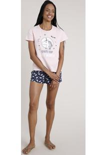 Pijama Feminino Unicórnio Manga Curta Rosa Claro