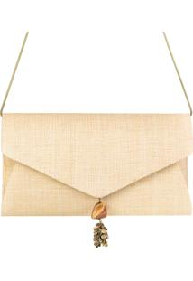 A Clutch Palha Panamá Envelope Bege