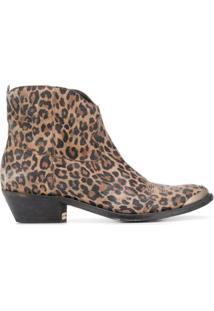 Golden Goose Ankle Boot Young Com Estampa De Leopardo - Marrom