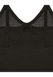 Blusa Com Alças Tricô Cropped Preto Reativo - Lez A Lez