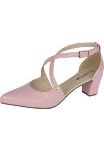 Scarpin Lu Fashion Com Tiras Rosa