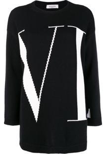 Valentino Vltn Logo Sweater - Preto