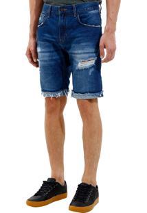 Bermuda John John Clássica Edimburgo 3D Jeans Azul Masculina (Jeans Medio, 40)