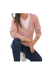 Cardigan Hering Tricot Liso Rosa