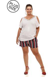 Blusa Melinde Plus Size Decote Rendado Branca - Kanui