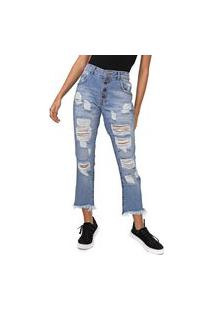 Calça Jeans Enfim Boyfriend Destroyed Azul