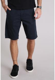 Bermuda De Sarja Masculina Reta Com Bolso Faca Azul Marinho