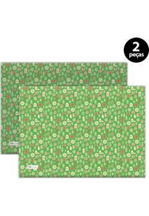 Jogo Americano Mdecore Natal Pinheiros 40X28 Cm Verde 2Pçs