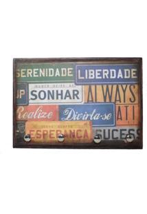 Porta Chaves Decoração Placa Vintage Sonhar Marrom