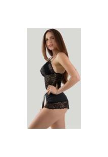 Short Doll Sexy Pijama Curto Com Renda Linha Noite Preto