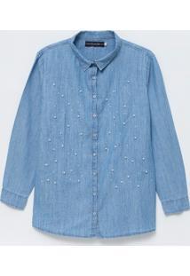Camisa Em Jeans Com Pérolas Artificiais