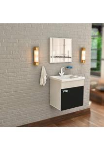 Gabinete De Banheiro Com Lavatório E Espelheira Nunki 31,5X39,5Cm Preto Cerocha