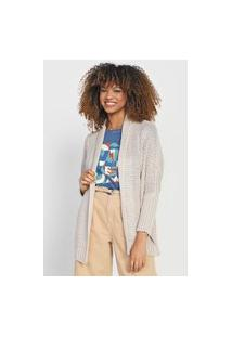 Cardigan Tricot Cantão Xale Bege
