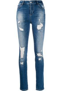 Philipp Plein Calça Jeans Skinny Destroyed - Azul