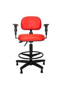 Cadeira Ergonômica Para Caixa-Produção Leven. Ajuste Lombar. Apoio Para Pés. Braços Ajustáveis. Sapatas. Sintético. Prolabore Produtos Ergonômicos