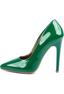 Scarpin Verniz Di Scarp Salto Alto Leve Festa Feminino - Feminino-Verde Escuro