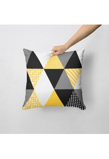 Capa De Almofada Avulsa Decorativa Triângulos Amarelos 35X35Cm